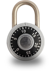 Safe lock representing protected accounts