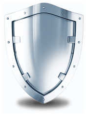 Shiny shield representing protected paperwork